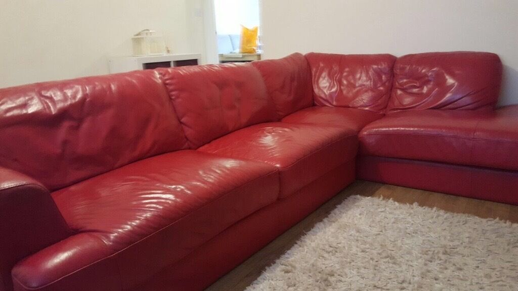 Lovely Red Leather Corner Sofa