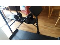 New OPTI BENCH with 30 kgs + yoga mat + 2 x weight training dumbells (16 kg)