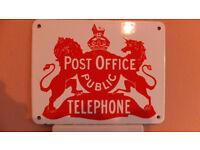 rare vintage post office public telephone enamel sign