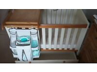 Cot with changing top and nappy organiser