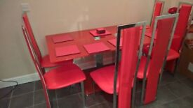 Red dining room suite