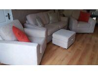 DFS 4 Piece Cream Fabric Suite