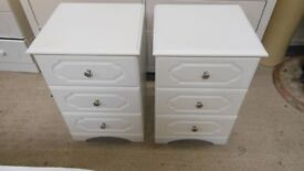 2 x 3 drawer white bedside cabinets in excellent condition.these are very solid, and sturdy.