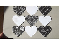 50 hearts: mix of black&white and white hearts