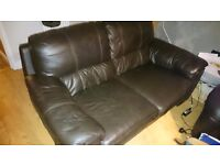 2 brown DFS Leather sofas
