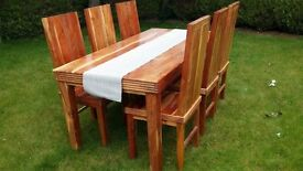Unique Solid Wood Hand Made Dining Room Table and 6 Chairs