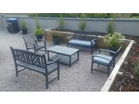 Grey Wooden Garden Set - 2 benches, 2 single chairs & table - can deliver