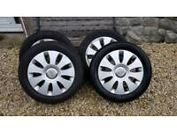 VW/AUD/SEAT/SKODA ALLOY WHEELS WITH TYRES 205/55/16 5X112
