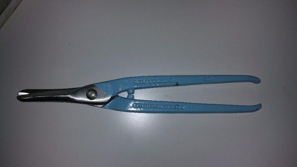 "Now Sold - Record Gilbow 12"" Medium Duty Straight Handled Tin Snip Metal Cutting Shear G950"
