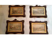4 x Lovely Antique Huntsmen Pictures for Sale