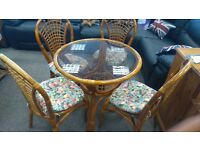 GLASS WICKER TABLE AND 4 CHAIRS GARDEN CONSERVATORY