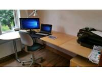 Large Home Office Desk, Chair, 4 Drawer Unit & lamp