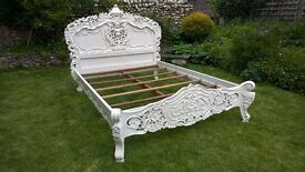 Attractive White Rococo Queen Size Bed