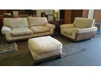 Large 2 seater beige sofa with armchair and pouffe (delivery available)