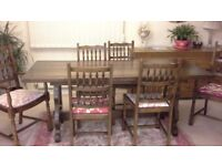Lovely quality solid Oak wood refectory dining table and chairs