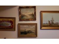 Paintings job lot of 4 antique gold frames