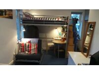 Hyder steel loft bunk bed+ storage stairs+work station + convertible chair/futon bed