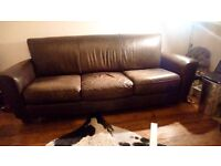 3 SEATER SOFA BROWN LEATHER - £70 ONO 07932786688 BUYER COLLECTS