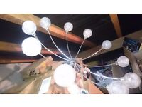chrome and glass light fitting g4 lounge living room dining room