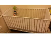 WHITE COT BED, from birth and onwards.