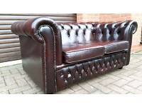 Chesterfield oxblood leather 2 seater sofa. EXCELLENT CONDITION!BARGAIN!