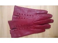 Red leather ladies gloves