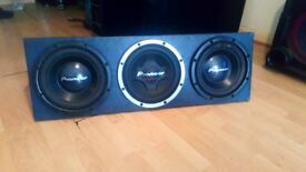 SUB BOX 3X PIONEER 12'' CUSTOMISED SUB BOX SOUNDS REAL NICE £90 O N O