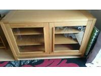 Solid oak pop up tv cabinet
