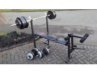 FOLDAWAY PRO POWER WEIGHTS BENCH & 50KG & BARS