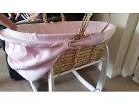 Moses basket with mattress and white rocking stand