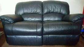 2 x Two Seater Black Leather Reclining Sofas