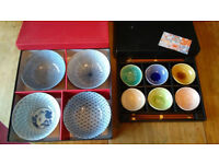 Japanese Porcelain Bowls (4 x 15cm and 6 x 8.5cm) with 6 x Wooden Chopsticks. Never Been Used.