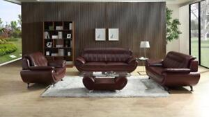 Lord Selkirk Furniture - Brook 3Pc - Sofa, Loveseat and Chair in Leather Gel Color Wine - $1599.00