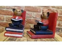 Adorable solid wood teddy bear hand-painted book ends.