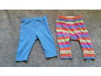 Baby leggings x2, 0-3 months