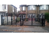 Ornamental steel gates 7820mm total width 2525mm height