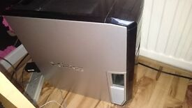 Dell XPS Desktop Gaming Computer with keyboard monitor and mouse and leads.