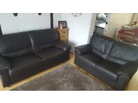 Faux leather dark brown sofa suit.
