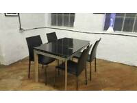 Ex Display Black Glass Extendable Dining Table 4 Leather Chairs Extending Solid RRP £689
