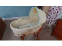 Moses basket with stand and optional bedding bundle