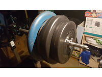 2 x 20kg and 2 x 10 kg or set with bench