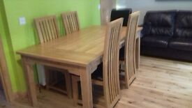 Celebrations of Turriff solid oak dining table 185 x 100 cms 6 chairs to match