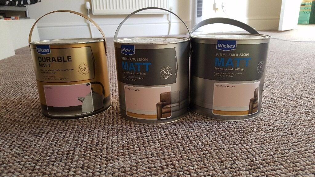 3x Tins Wickes Pink Paint 1x Durable Matt In Fondant And 2x Matt
