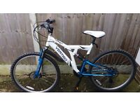 Ladies light allumnium, full suspension mountain bike with disc brakes front and rear