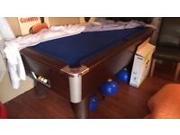 Full size pool table blue with lights included