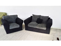 NEW Graded Grey Black Sofa Suite 2 Seater + Armchair FREE LOCAL DELIVERY