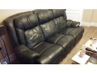 2 piece 3 seater leather sofa and chair with recliners