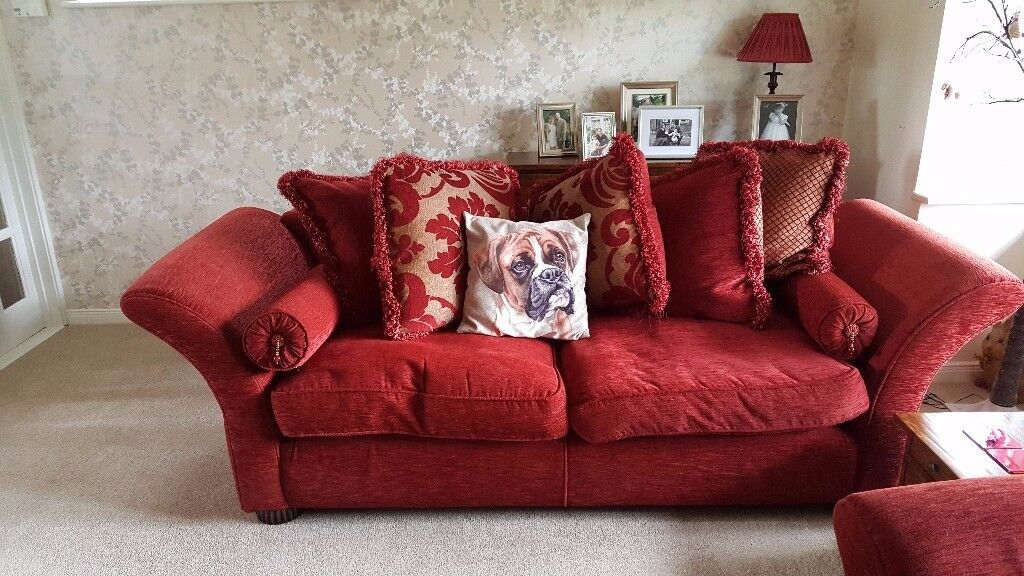 PAIR OF DFS RED SOFAS