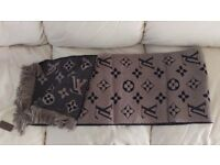 Authentic Louis Vuitton Designer Wool Silk Scarf Monogram 31x160cm Verone Italy BNWT
