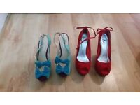 Ladies Bebo Platform Wedge Sandals In red and and ofice shoes Size 7 both of them